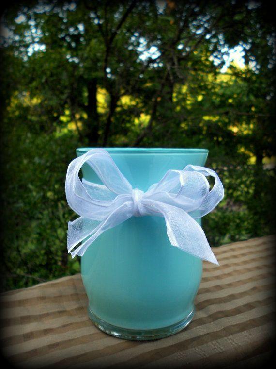 10 Tealight pillar candle glass votive by PetiteSophisticateDz, $40.00