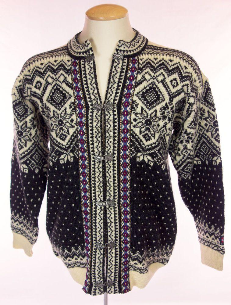 DEVOLD Mens Nordic Chunky Sweater Size M Medium Wool Fair Isle ...