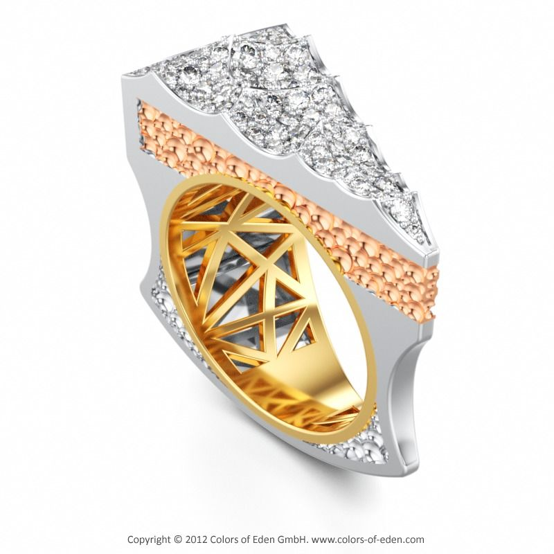 LET THEM EAT FANCY CAKE | Designer Ring with Diamond vvs1/F in Platinum and 18k Red Gold