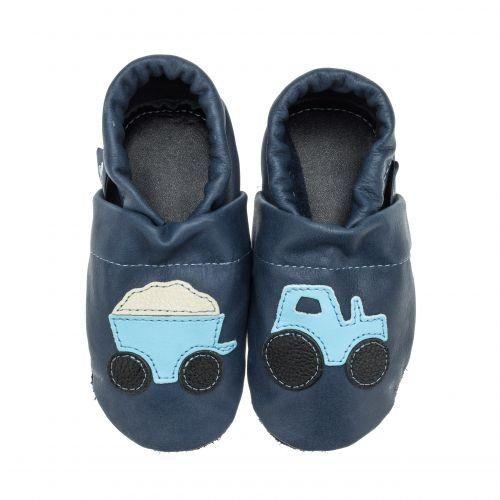 pantau.eu Kinder Lederpuschen Traktor mit Anhänger, Blau-Hellblau-Beige-Schwarz, Größe 31