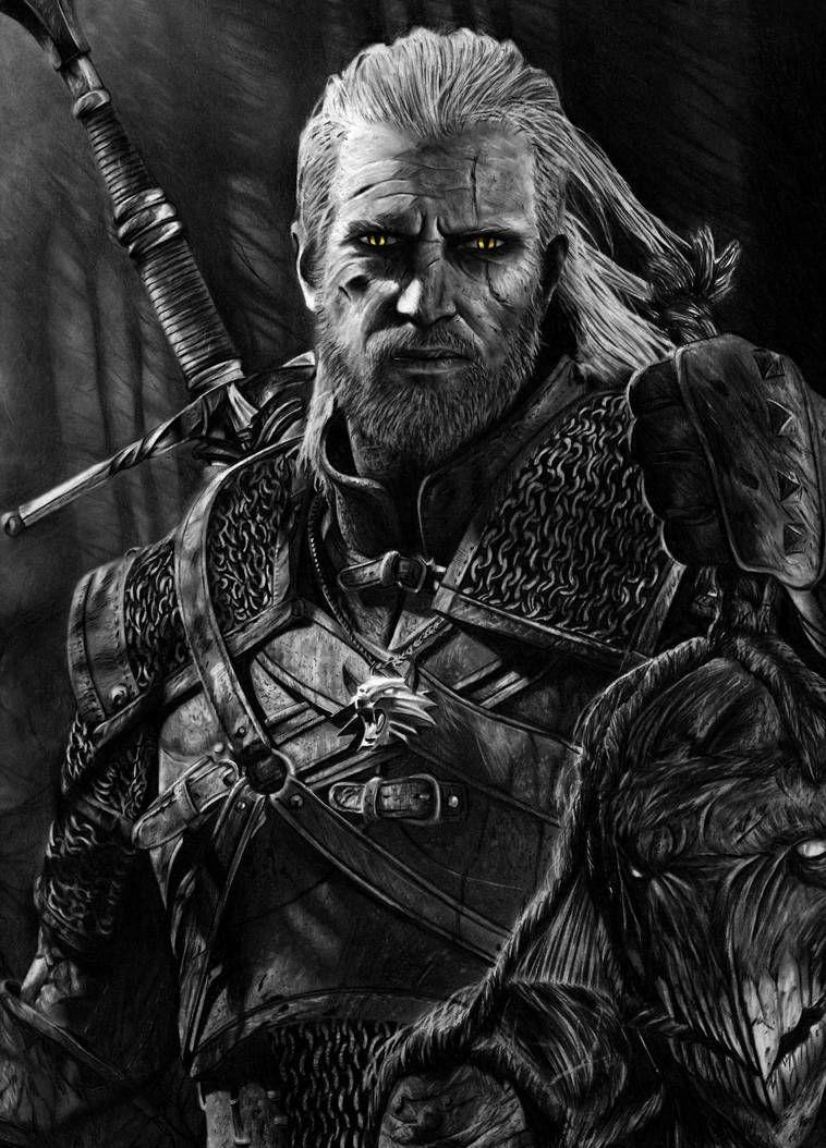 Geralt The Witcher 3 Pencil Portrait By Tricep Terry Witcher Art The Witcher Witcher Tattoo