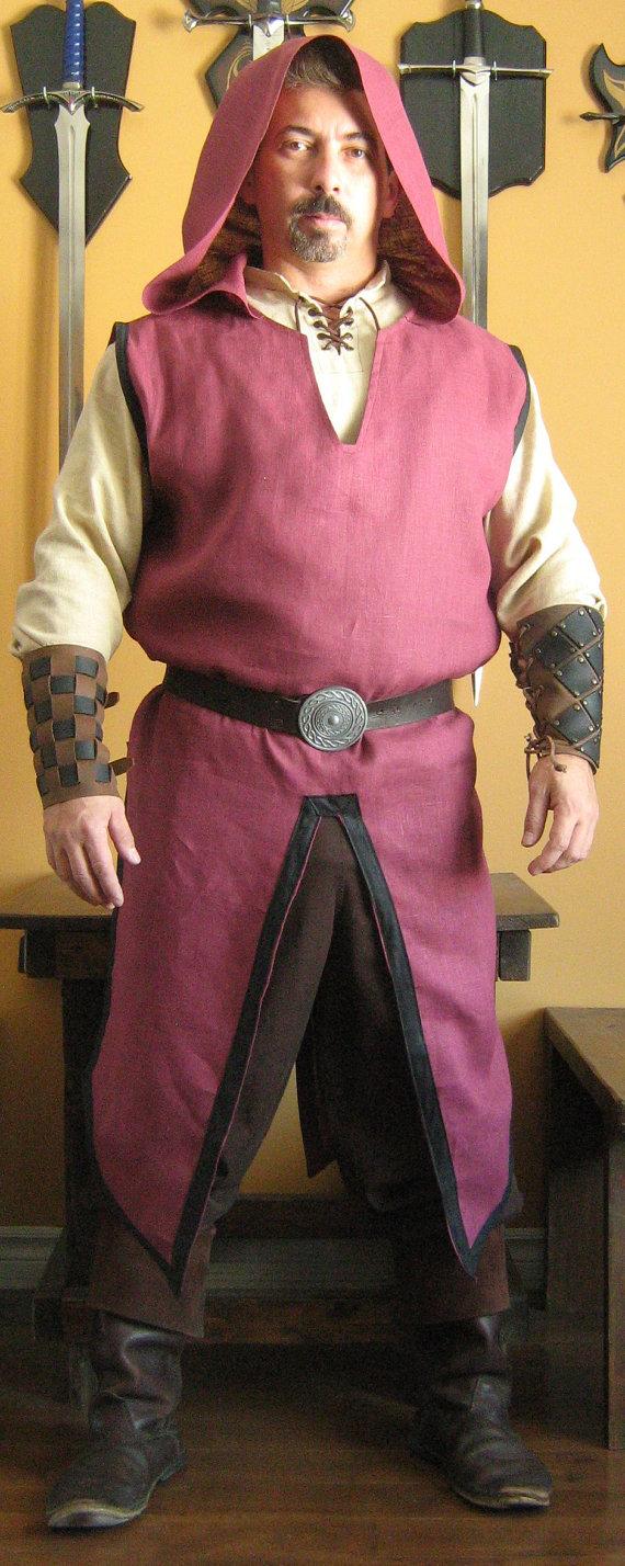 Medieval Celtic Viking Wizard Assassin Hooded Surcoat | Medieval ...