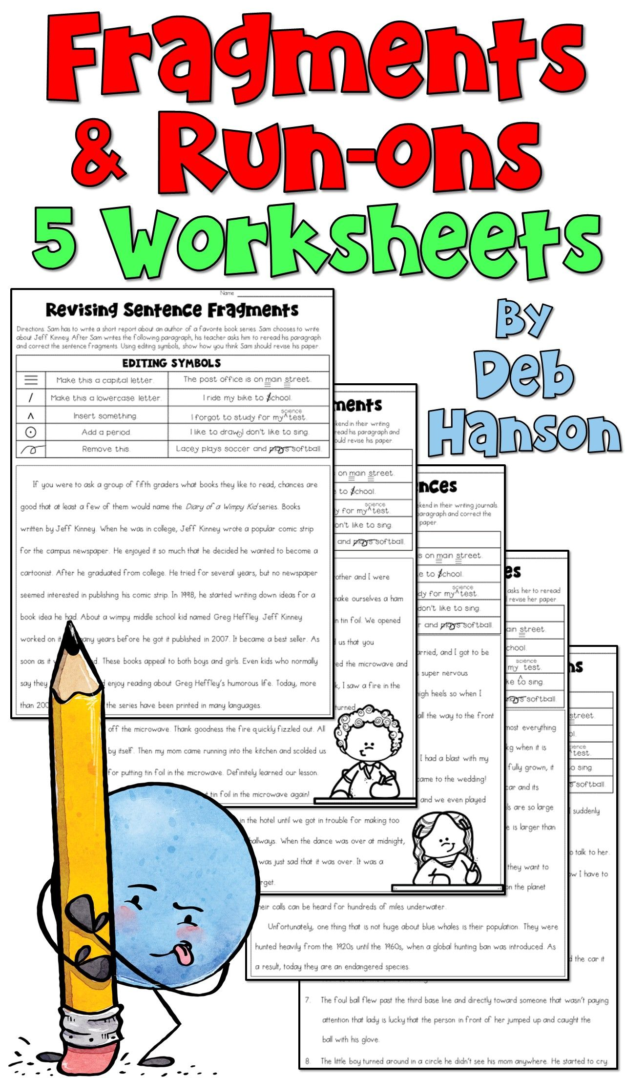 Fragments And Run Ons 5 Worksheets