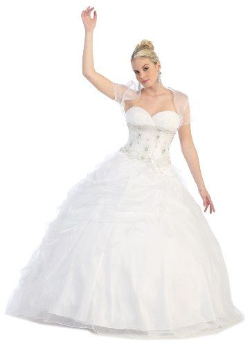 Ball Gown Formal Prom Strapless Wedding Dress 31 4 White US Fairytailes