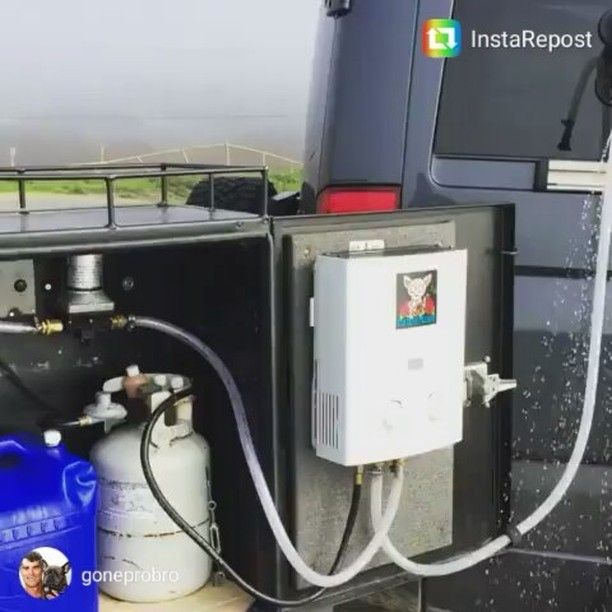 Aluminess Box Fitted With On Demand Water Heater Used To Make Outdoor Shower Sprinter Van