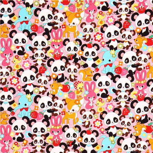 Pink Kawaii Panda Bear Rabbit Oxford Fabric Cosmo Japan 2