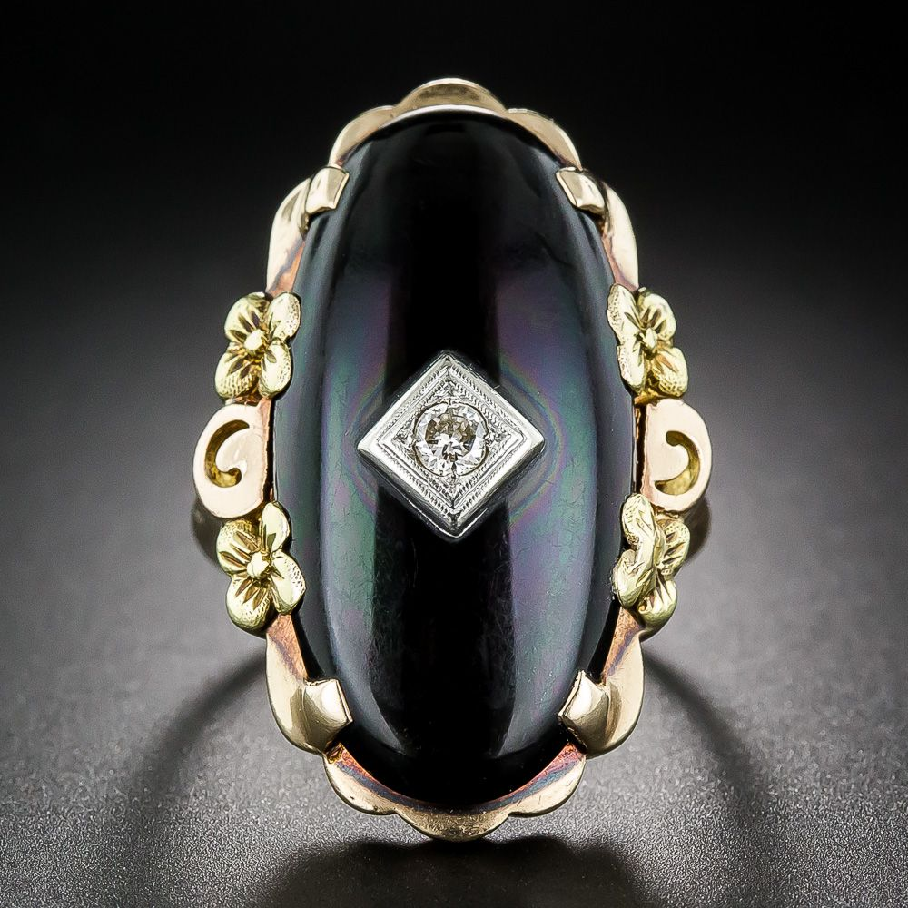 Vintage Onyx Tri-Color Gold and Diamond Ring - 30-1-5538 - Lang Antiques
