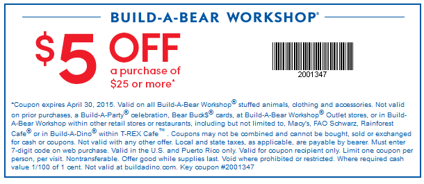 5 Off 25 At Build A Bear Workshop Build A Bear Coupons Build A Bear Bus Card