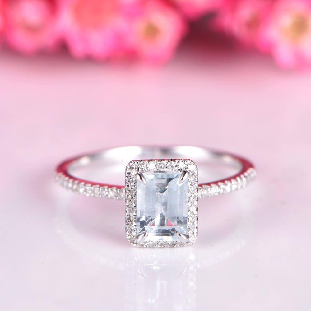 Aquamarine ring emerald cut aquamarine engagement ring 5x7mm natural ...