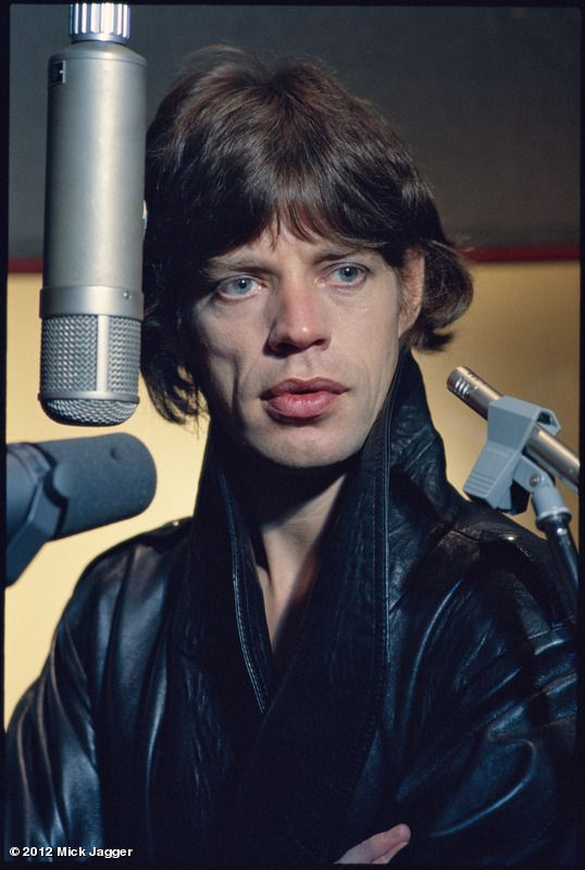 Mick in the studio recording Some Girls, Paris, 1978. Photo by Helmut Newton