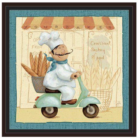 Chef's Market III by Eazl Walnut Framed Premium Gallery Wrap, Size: 24 x 24