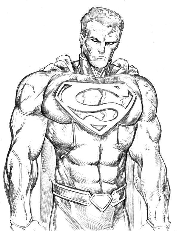 рисунок супермена карандашом правильно проводить