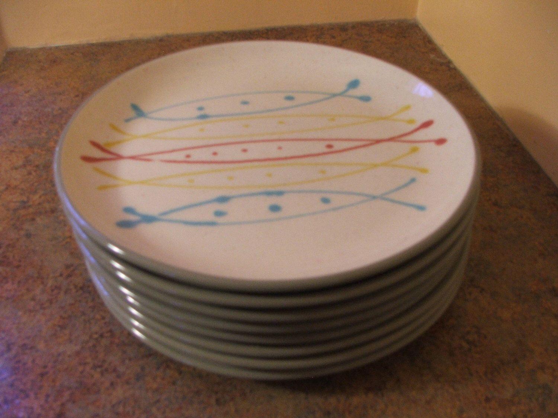 Set of Eight (8) 1950s Harkerware Stone China Ovenproof USA Seafare Dinner Plates & Set of Eight (8) 1950s Harkerware Stone China Ovenproof USA Seafare ...