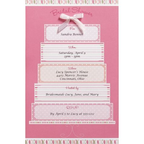 Pink Cake Printable Bridal Shower Invitations Party City – Party City Invitation Printing