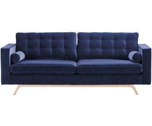 samt sofa daniella 3 sitzer tiefblau farben kombinieren und bequemes sofa. Black Bedroom Furniture Sets. Home Design Ideas