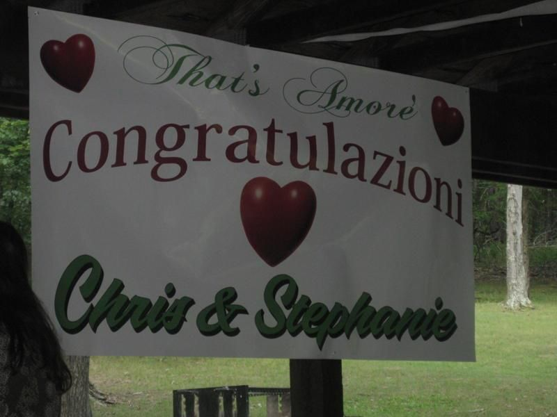 banner for Engagement Party- The couple got engaged in Little Italy NYC so the party was little Italy themed.