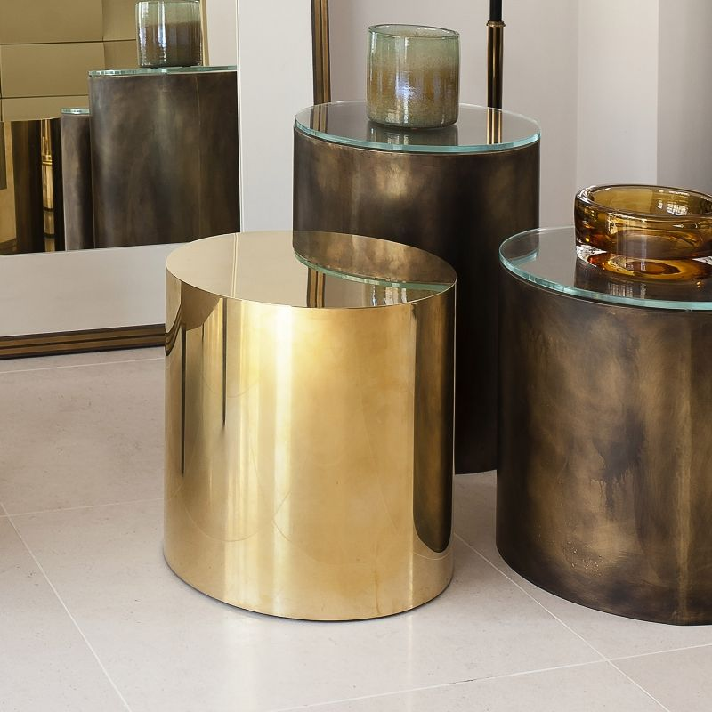 Santiago Modern Burnished Brass Drum Coffee Table: BRASS COLLECTION In The BI
