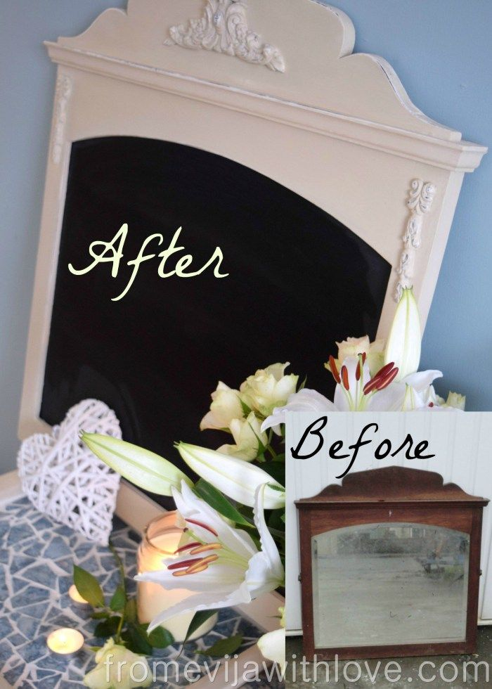 Shabby Chic Chalk Board I created this beautiful shabby chic chalk board from an old mirror. Featured on #OMHGWW