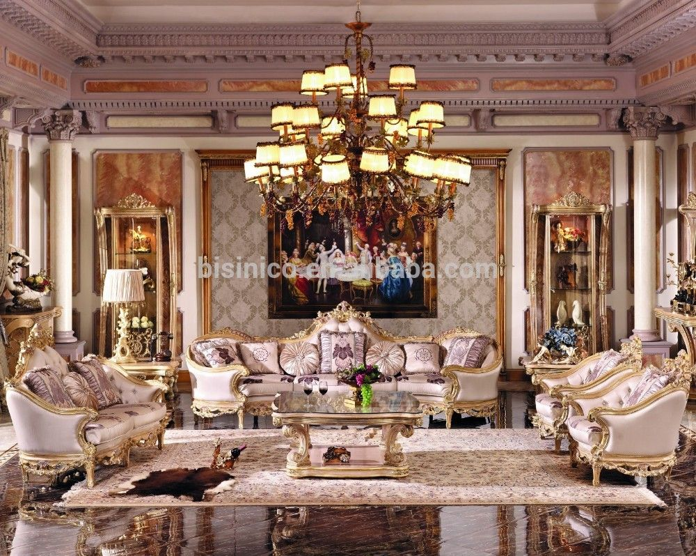 Royal Living Room Furniture. Luxury French Baroque Bright Color Living Room Sofa Set royal Palace Hand  Carved Fabric
