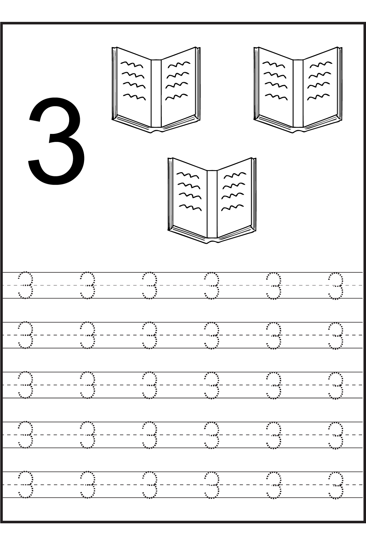 Worksheets For 2 Year Olds Number 3