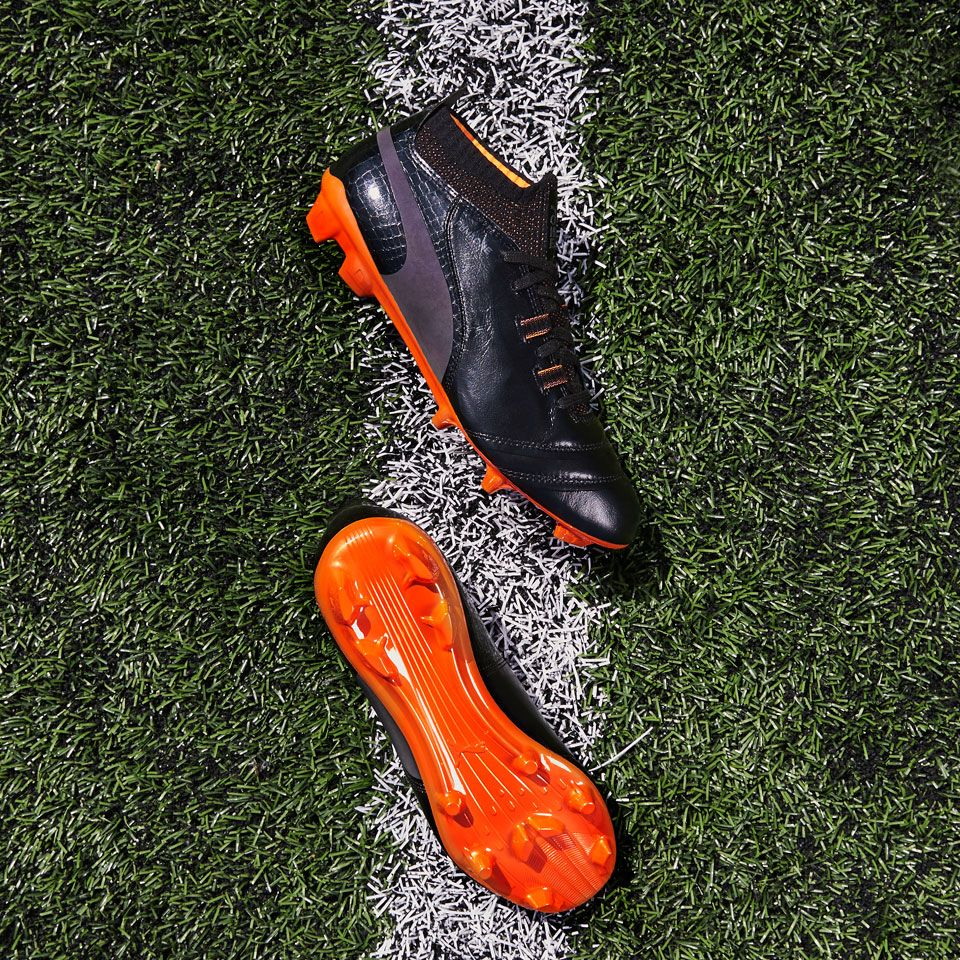 Sepatu Bola Puma One Lux Fg Puma Black Shocking Orange Sepatu