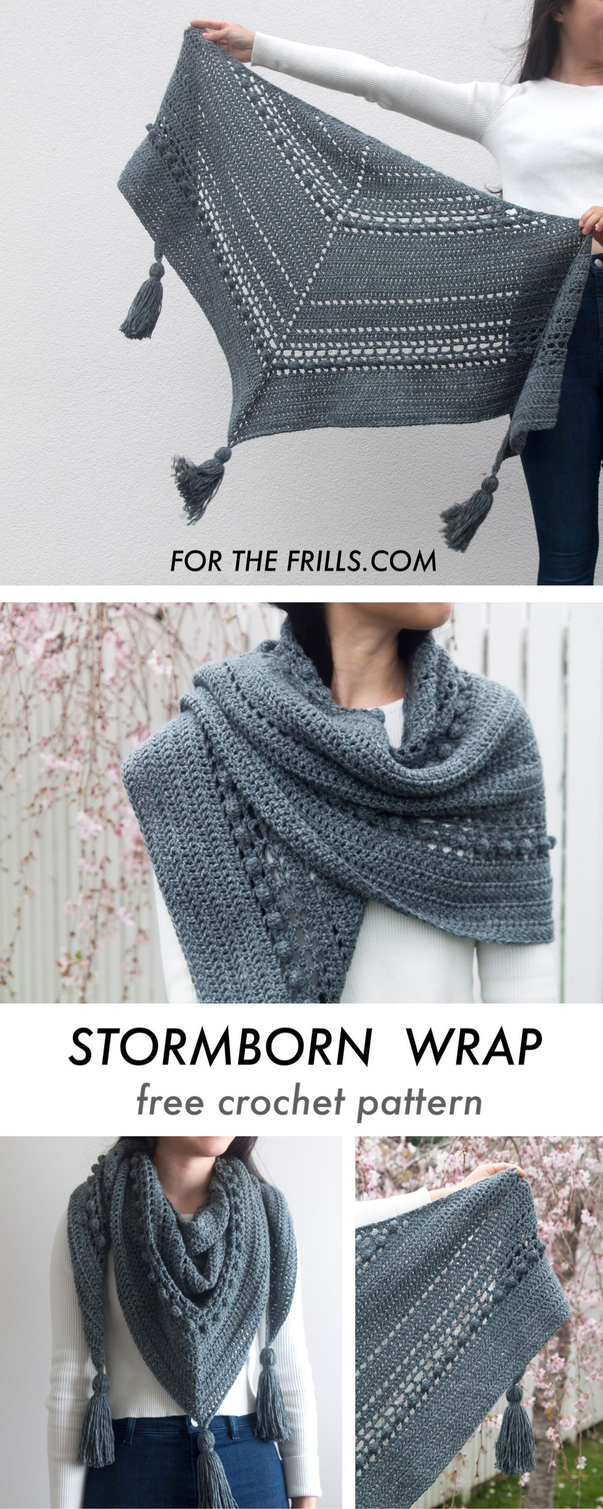 Stormborn Wrap – Bobble Crochet Wrap with Chunky Tassels – free pattern for the frills