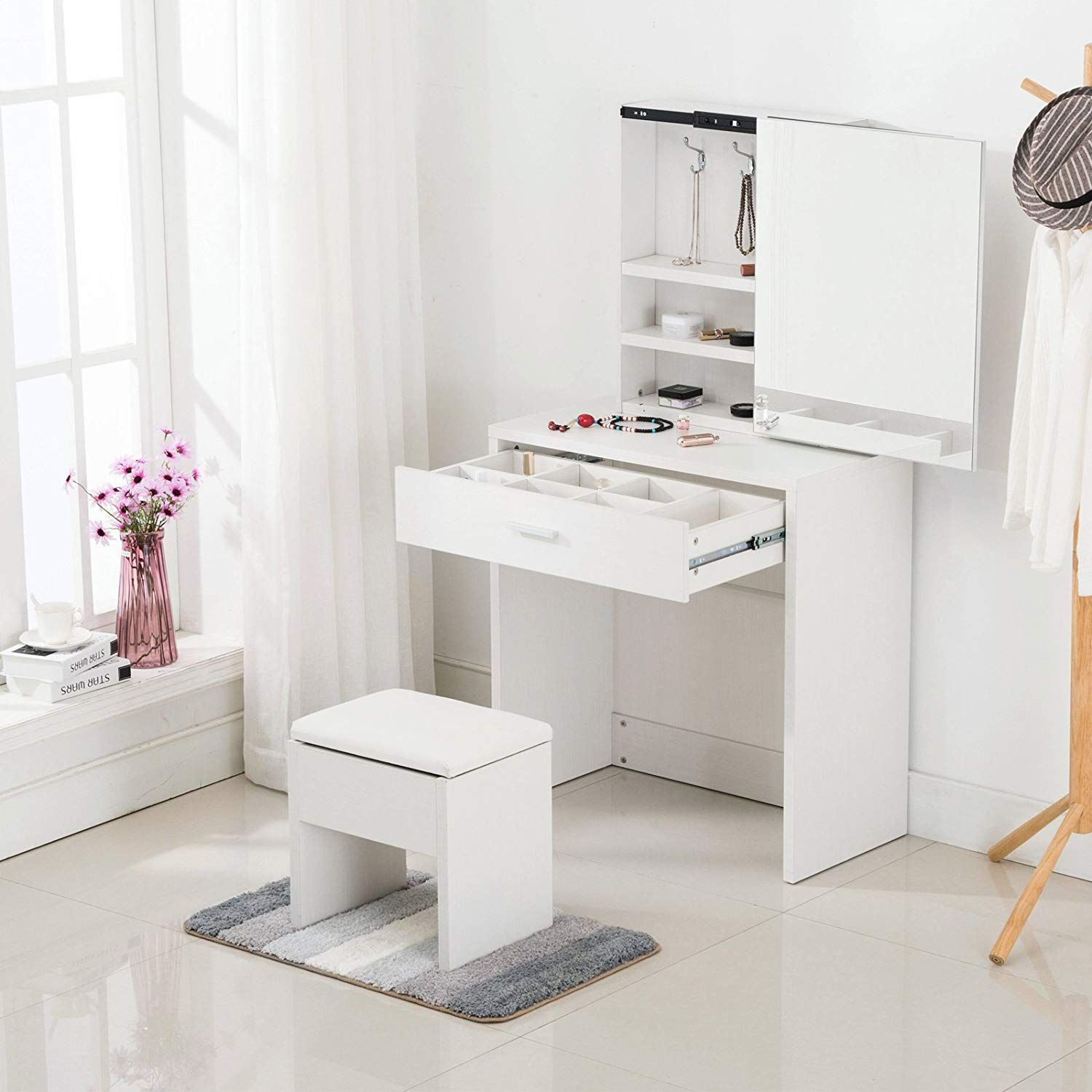 Mecor Simple Multi Functional Dressing Table With Large Sliding Mirror Leather Stool Storage Dressing Table With Stool Vanity Table Set Simple Dressing Table