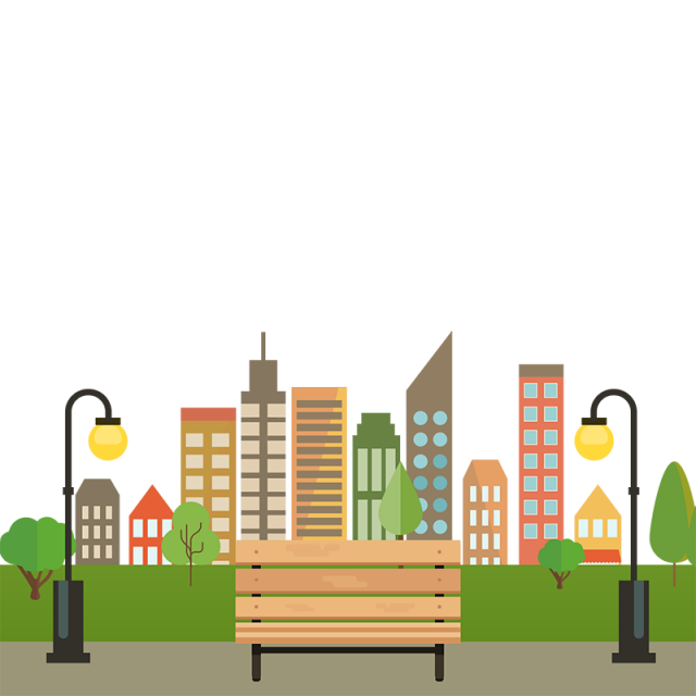 Colorful Building City With Bench Vector Png, City With ...