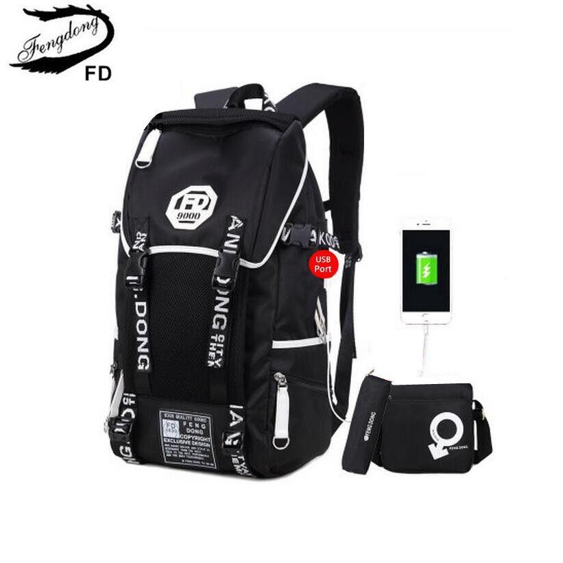 ab047b32e6 FengDong 3 pcs big size black waterproof backpack men school bag set high school  backpacks for
