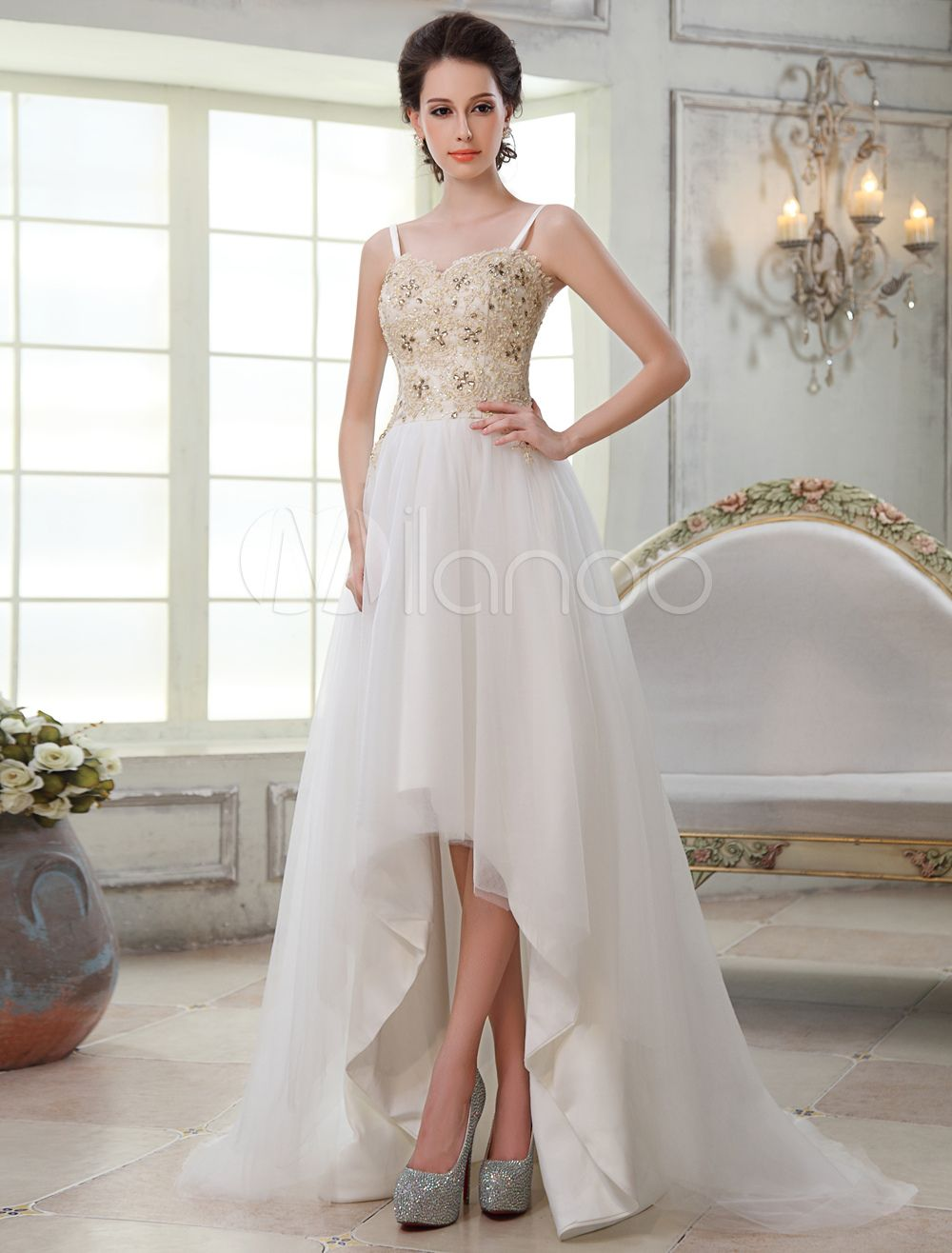 Lace spaghetti strap wedding dress  Aline Sweetheart Spaghetti Strap Asymmetrical Bridal Wedding Dress