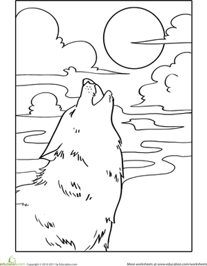 Howling Wolf Coloring Page More