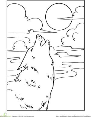 Howling Wolf Coloring Page Sulu Boya Cizimler Ve Wolf