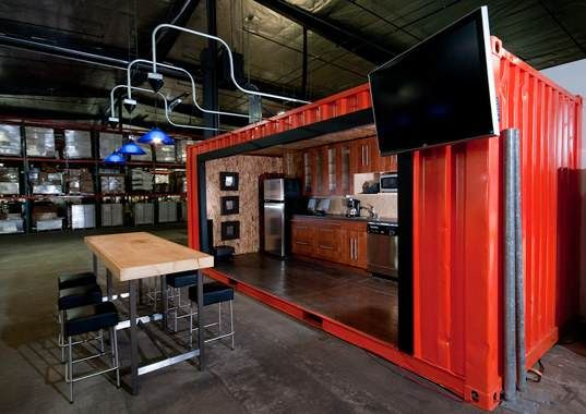 Shipping Containers Transform Warehouse Into Office Space Container Office Shipping Container Office Warehouse Office Space