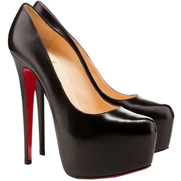 Pre-owned Christian Louboutin Daffodil Black Pumps ($530) ❤ liked on  Polyvore featuring
