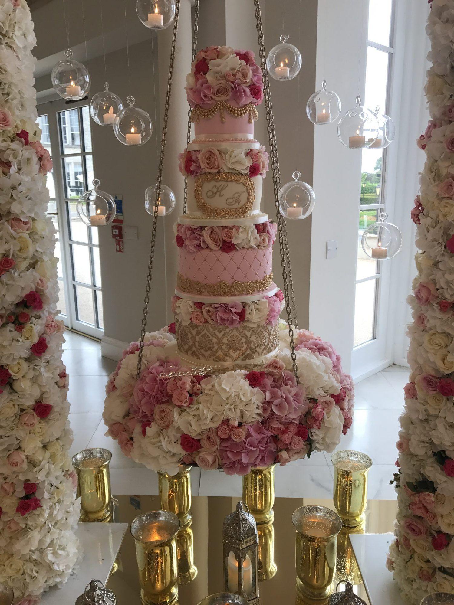 Hanging cake 2 hanging cake wedding cakes with flowers