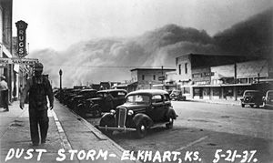 The 1930s during the Dust Bowl. This was taken on my birthday, 5 decades before I was born. Super cool!