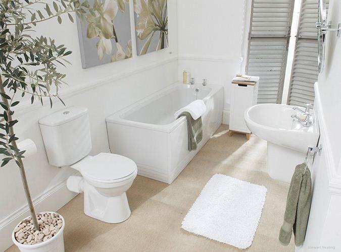 Badezimmer Weiße Fliesen Boden Naturfarben