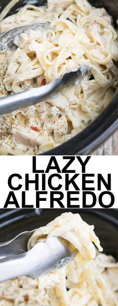 This quick and easy SLOW COOKER CHICKEN ALFREDO recipe requires 5 ingredients and 5 minutes of prep time. This crockpot chicken alfredo is rich and creamy and an easy weeknight meal. From cakewhiz.com #chickenalfredo