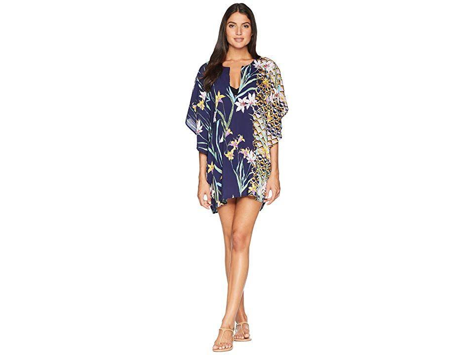 1a9a8f7cdcfa2 Trina Turk Fiji Floral Mix Caftan Cover-Up (Midnight) Women s Swimwear. Take