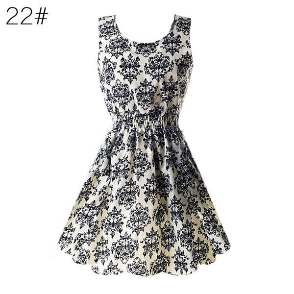 Women chiffon beach dress sleeveless summer sundress floral tank dresses 20 colors