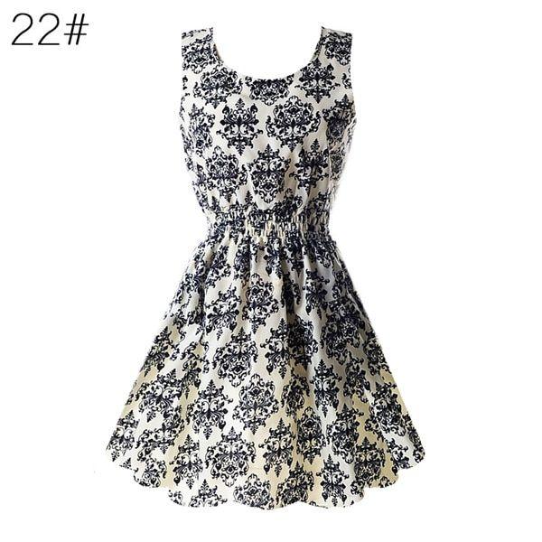 Women chiffon beach dress sleeveless summer sundress floral tank dresses 20 colors #shortsundress