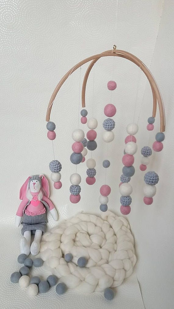 Pink, grey mobile Modern baby mobile Pink baby room decor Crip ...