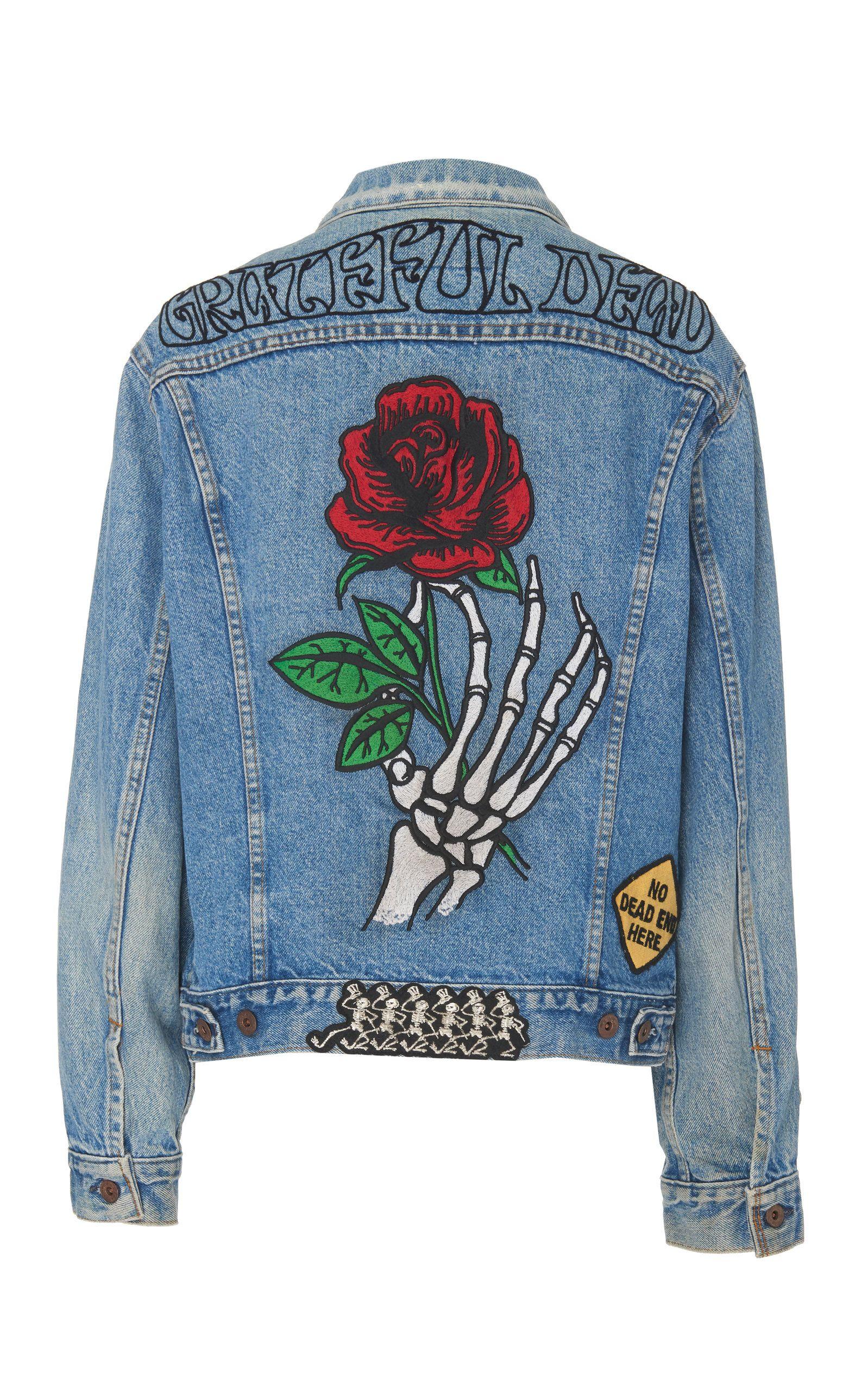 Madeworn Grateful Dead Embroidered Rose Denim Jacket Jackets Denim Jacket Patches Denim Jacket [ 2560 x 1598 Pixel ]