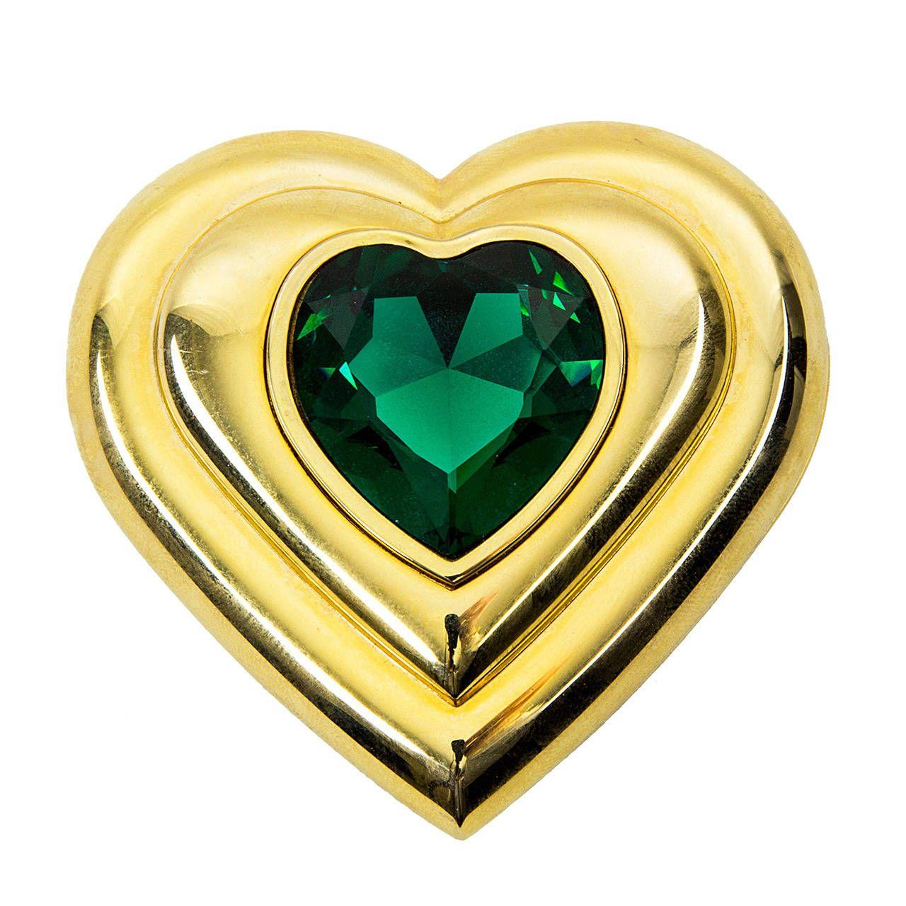 Saint Laurent Paris Poudre Ecrin Crystal Heart Jeweled Compact Ysl SMVrkqrIA
