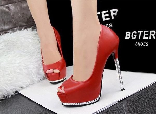 c0fbb71438f Thin Red High Heels Platform Pumps Open peep Toe High Heels Dress ...