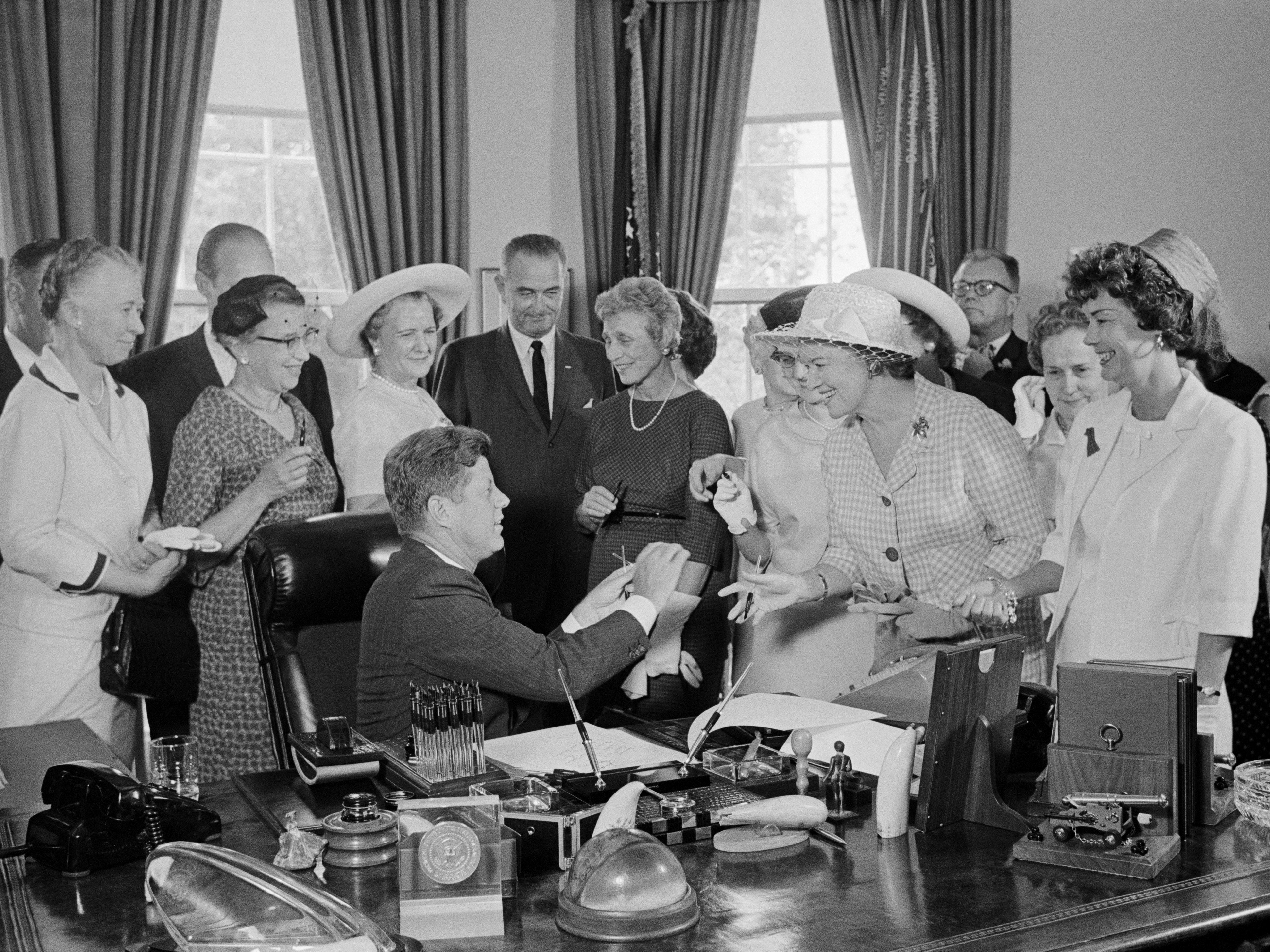 The Equal Pay Act was signed as a law on June 10, 1963 by President John F. Kennedy. At the time women made up one-third of the national workforce. Women earned 59 cents for every dollar a man earned. (http://www.msnbc.com/jansing-co/50-years-women-still-fighting-equal-p)