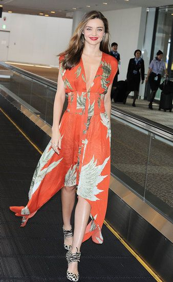 : Miranda Kerr wore a printed dress.