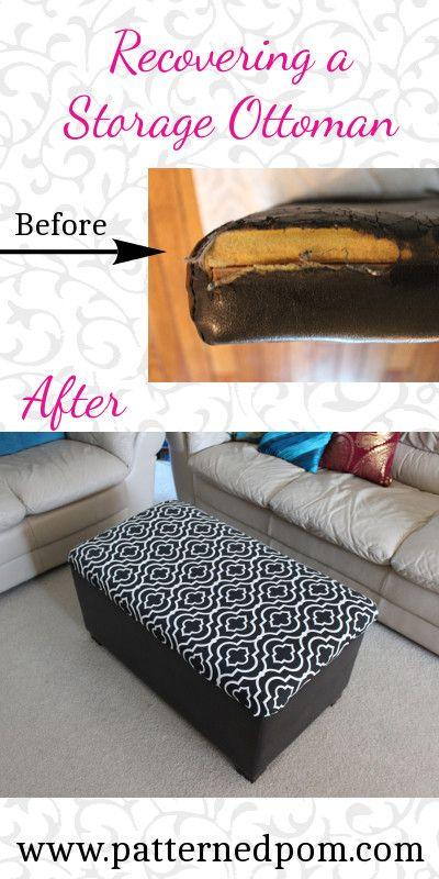 Groovy Recovering A Storage Ottoman Patternedpom Diy Furniture Frankydiablos Diy Chair Ideas Frankydiabloscom