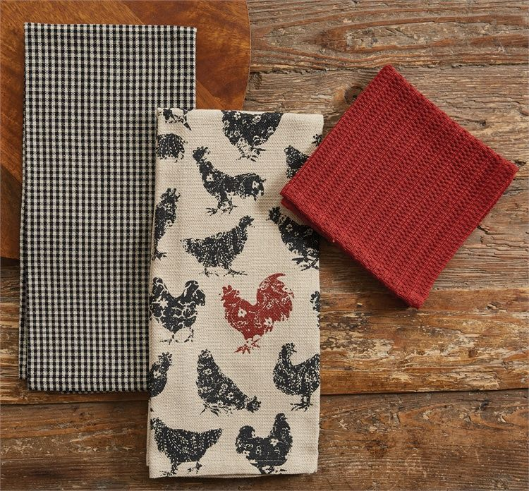 Hen Pecked 2 Dishtowel 1 Dishcloth Kitchen Towel Gift Set In 2018