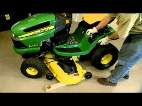 How to Remove and Attach a Lawn Mower Deck -- John Deere